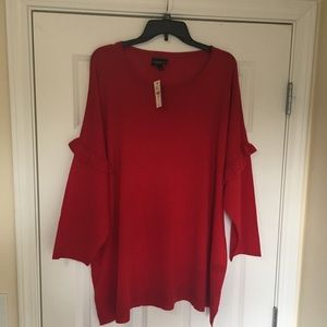 New 22/24 Lane Bryant Red Ruffle Sleeve Sweater